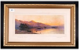 Signed Print Attributed To A.De.Breanski Janr pencil signed to the margins, titled the setting Sun