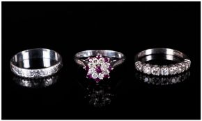 Two Ladies 18ct White Gold Diamond Rings, 7 Stone Diamond Half Eternity And A Ruby And Diamond