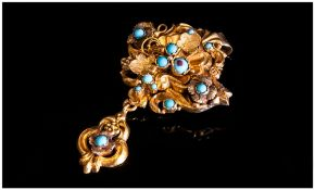 19thC Pendant Brooch, Shell And Scroll Embossed Form With Drop, Set With Turquoise Stones, 60 x
