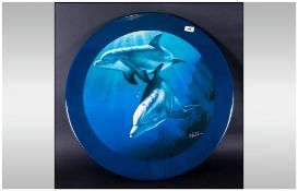 Christian R Jassen Signed Coloured Print On A Wooden Panel Of Two Dolphins Swimming In Turquoise Sea