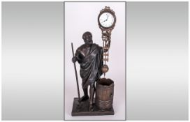 A French 19th Century Impressive Bronze Figural Mystery Clock. c.1880. 8 Day Movement. Excellent