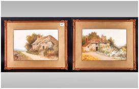 Reginald Daniel Sherrin (1891-1971 British)  Old Kent Cottages, A Pair each 10 x 15 inches image