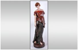 WITHDRAWN //  Goldscheider Large Signed Terracotta Figure Depicting A Classical Maiden Against An