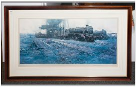 David Sheperd Limited Edition Train Print Titled 'Black Five Country' with blind stamp. Pencil