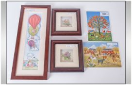 Framed Print By Anne Webster Together With 2 Villeroy & Boch Painted Plaques And Two Small Framed