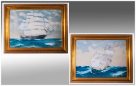 J.H.Dobson, Large Pair Of Watercolour Drawings On Paper Of Sailing Barques In Full Sail in choppy