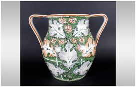 Rare Wedgwood Painted Arts & Crafts Pottery Two Handled Vase, finely decorated with the vine and