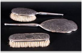 Queen Elizabeth II Elegant Silver 3 Piece Ladies Dressing Table Set. Consisting of Hand Mirror, Hand