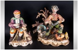 Capo Di Monte Two Figures Marked Naples, one depicting an accordion player & a man with a dog eating