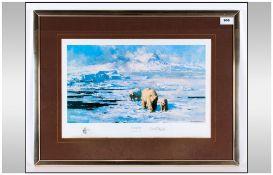 David Shepherd Pencil Signed Ltd Edition Coloured Print, Titled ' Ice Wilderness ' 11.25 x 17