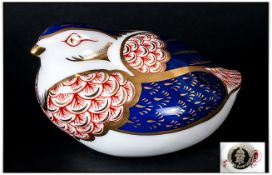 Royal Crown Derby Paperweight ' Quail ' Gold Stopper, Discontinued 1990. Complete with Box. 2.5
