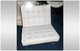 Modern Designer Chrome Lounger Chair With Buttoned Leather Cushion 28 x 29 x 29 Inches