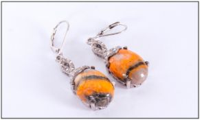 Bumblebee Jasper Pair of Drop Earrings, oval cabochons, each of 7.25cts, suspended below platinum