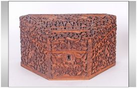 Indian Antique Colonial Triangular Shaped Carved Wooden Box Of The Finest Carving, depicting monkeys