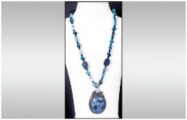 Sodalite, Blue Lace Agate, Black Agate and Lapis Lazuli Pendant Necklace, the pendant set with a