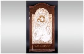 Glasgow Girls School Of Art Style Art Nouveau Carved Plaster Wall Plaque Depicting The Madonna