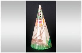 Clarice Cliff Handpainted Conical Shaped Sugar Sifter 'Aurea' Design, Circa 1934, 5.5'' in height.