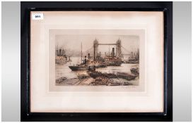 Tower Bridge Coloured Etching Of Ships In The Pool Of London, pencil signed to the margins by