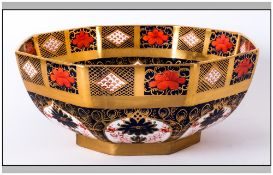 Royal Crown Derby Imari Pattern Large Octagonal Shaped Footed Bowl. Pattern Num.1128. Height 5