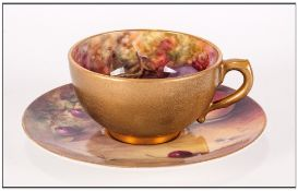 Royal Worcester Hand Painted Matched Miniature Cup & Saucer 'Fallen Fruits' Still Life Signed W.