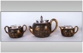Staffordshire Silver Topped Three Piece Singles Tea Service Decorated with applied images of birds &