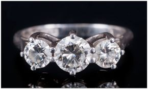 A Platinum Set 3 Stone Diamond Ring, round brilliant cut diamonds, centre stone VS1 - VS2 Clarity,
