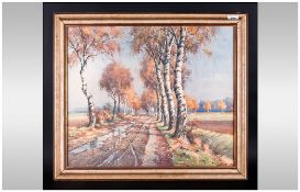 Walter Markel Watercolour Drawing Of Country Road, Lined By Trees In Open Landscape. Framed &