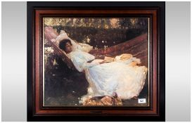 Framed Print 'The Arbor' after Sir Alfred Munnings, showing a graceful Edwardian lady reclining in a