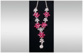Deep Pink and White Crystal Floral Y Shaped Necklace, the pink flowers of six marquise cut