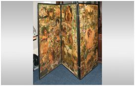 19thC Black Lacquered Framed Folding Three Panel Screen decorated throughout with Victorian dated
