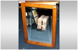Varnished Pine Bevel Edged Mirror.