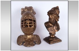 Unusual Gilt Metal Desk Inkwell with a knight wearing a visor, which when opened reveals a mans head