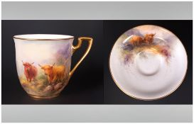 Royal Worcester Hand Painted Miniature Cup and Saucer ' Highland Cattle ' Signed John Stinton. c.