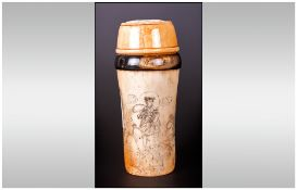 Antique Chinese Ivory and Horn Cricket Case, with Carved and Fretted Lid Depicting a Dragon with