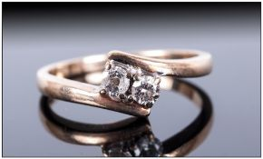 9ct Gold Diamond Dress Ring, Set With Two Round Brilliant Cut Diamonds On A Twist, Fully Hallmarked,
