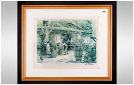 Sturgeon Signed Print Depicting Barrel Makers 13x9.5'' Framed & Behind Glass