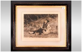 Framed Black & White Etching By L.Steele Titled 'His Only Friend' After Briton Riviere (1840-1920)
