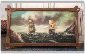 Edmund Kentsch Oil Painting on Canvas depicting  sailing ships in a choppy sea in full sail, with