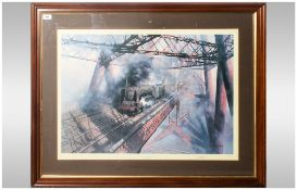 David Sheperd Limited Edition Train Print Titled 'Over The Forth' with blind stamp. Pencil signed to