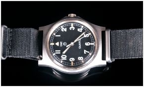 Military Wristwatch Black Dial, Arabic Numerals With Centre Seconds, Marked CWC Quartz. Number To