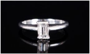Platinum Single Stone Diamond Ring Set With An Emerald Cut Diamond, 4 Claw Setting Accompanied