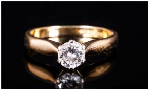18ct Gold Single Stone Diamond Ring Set With A Central Round Modern Brilliant Cut Diamond, Claw Set,