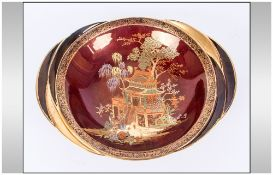 Carlton Ware Rouge Royale Chinoiserie Dish, 'New Mikado' pattern on a red ground, on a circular,