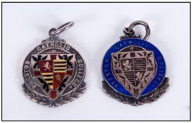 Preston Silver & Enamel Cased Catholic College Medallions, 1920's