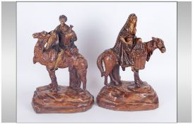 Austrian / Bernard Bloch 19th Century Pair of Terracotta Middle - Eastern Figures. Marked B.B To