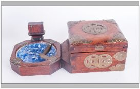 Composite Chinese Treen Wood and China Smoking Set comprising box, ashtray and matchbox holder.