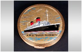 Stratton Gold Plated Circular Compact. c.1950. With Painted Image of The Cunard Liner, R.M.S.
