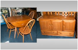 Ercol Elm/Beach Dining Room Table And 4 Chairs Together With A Matching Sideboard