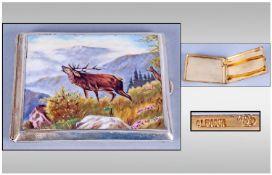 Austrian Fine Quality Enamel & Alpacca Silver Cigarette Case Circa 1900. Features Stag in a mountain