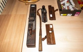 Collection Of Tools To Include A Record Plane, A Large Plane, 2 Small Planes & Mortise Lock Chisel